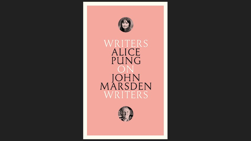 black background with blue book cover, writing in black and white with small circular photos of Alice Pung and John Marsden