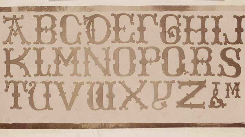 Photo of a gothic-style alphabet font