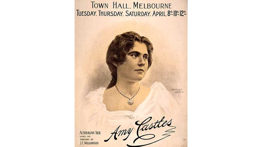 Poster for soprano Amy Castles, performing at theMelbourne Town Hall in 1902