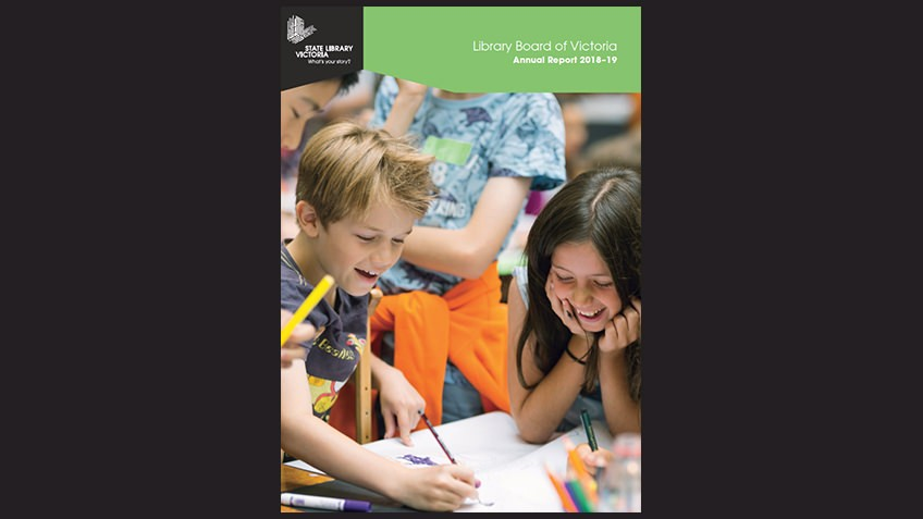black background with annual report cover featuring children