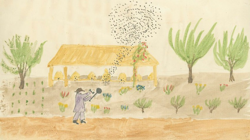 Watercolour painting in a naive style of a man smoking a swarm of bees out of their hive