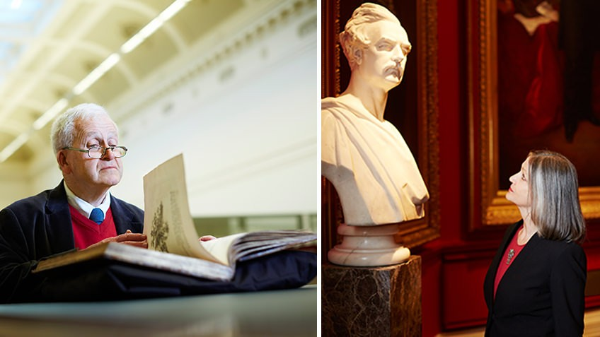 Composite photo of a man flipping through a book on the left, and a woman looking at a marble statue on the right