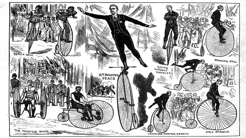 Cartoon of men riding penny farthings