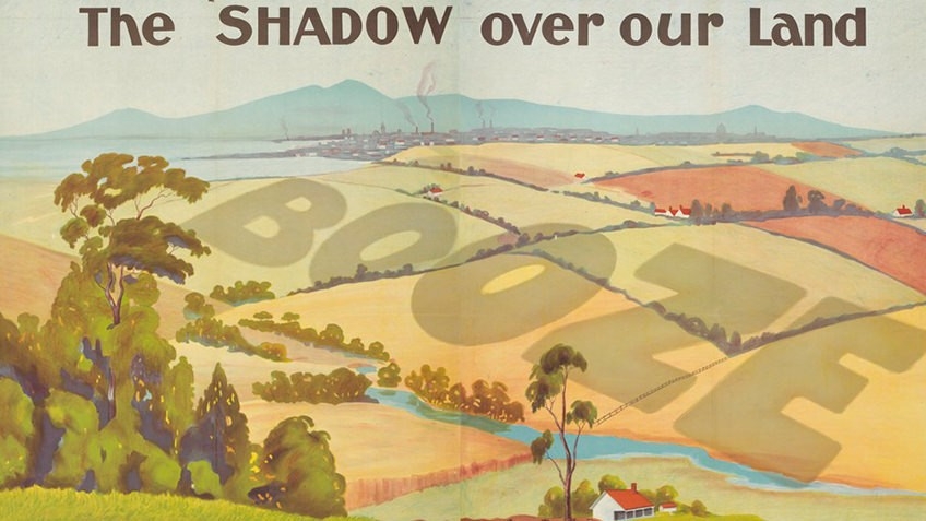 landscape of hills, town and country with the word 'booze' in shadow