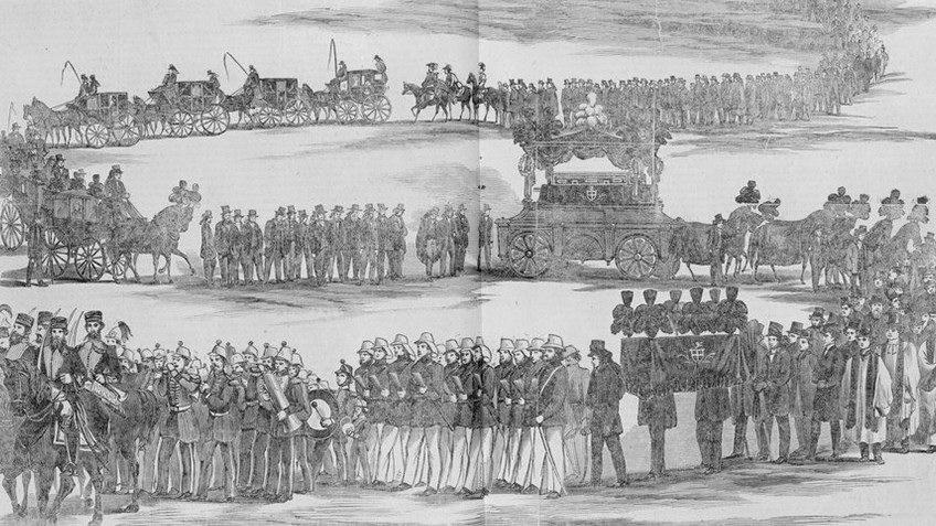 A curving procession of people flank a carriage