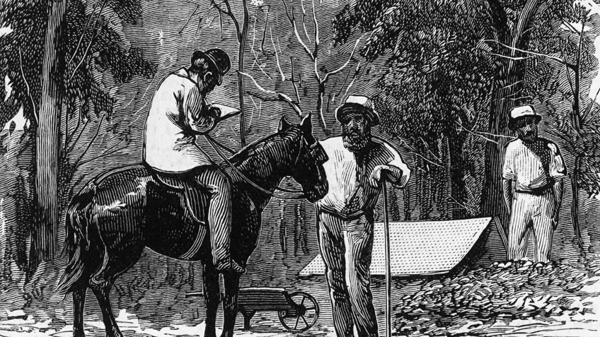 Illustration of a man on horseback taking the census of two workers