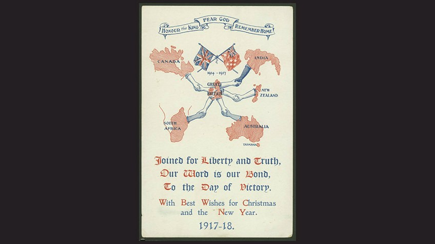 Postcard with flags and map of Britain surrounded by Allied countries and shaking hands