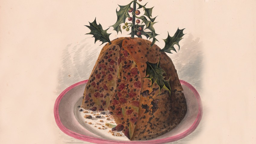 Illustration of a Christmas pudding