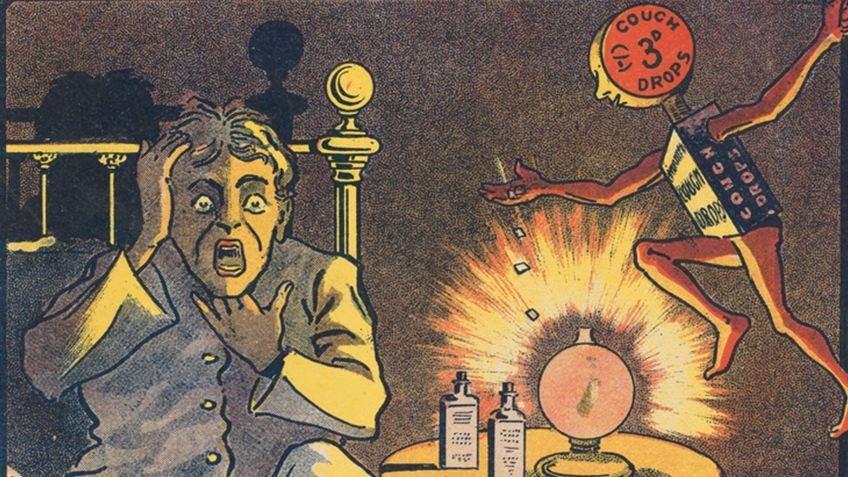 Coloured advertisment showing a person in bed with a cold, and an animated cough dropper offering relief
