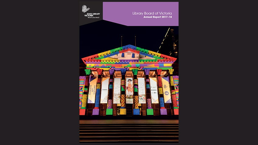 black background with brightly coloured night shot of Library portico lit for White Night with purple banner and white text