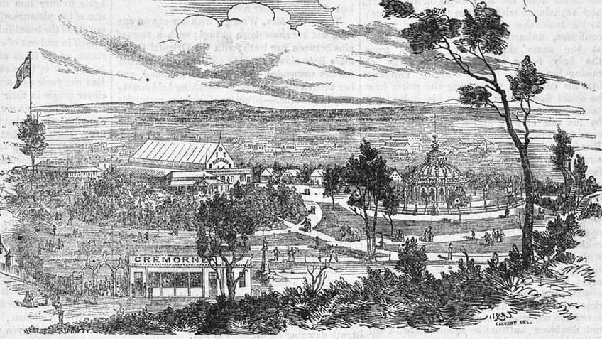 A cloud-swept sky dominates an engraving of a large park dotted with 19th century buildings