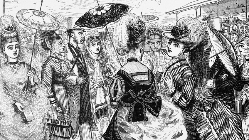 Cartoon of women dressed up for the Melbourne Cup in the late-19th century