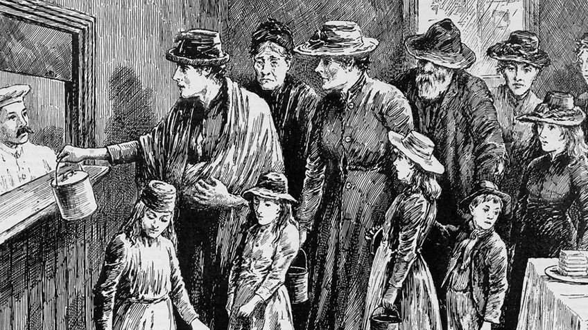 Lithograph of impoverished men, women and children queuing for food