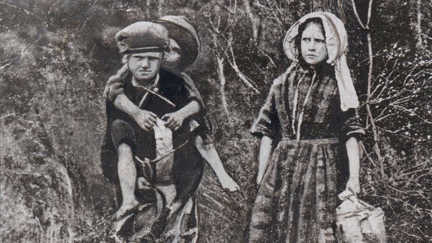 Black and white depiction of three children lost in the bush