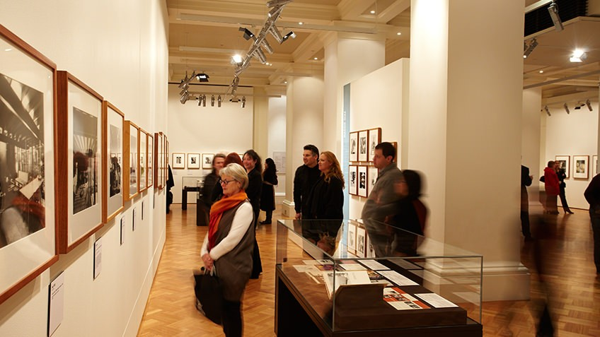 Colour photo of an exhibition in the Keith Murdoch Gallery