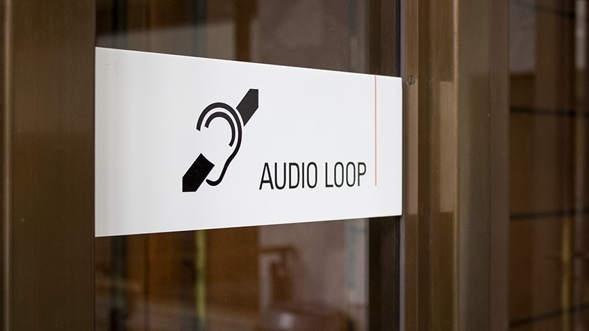 Photo of an audio loop sign