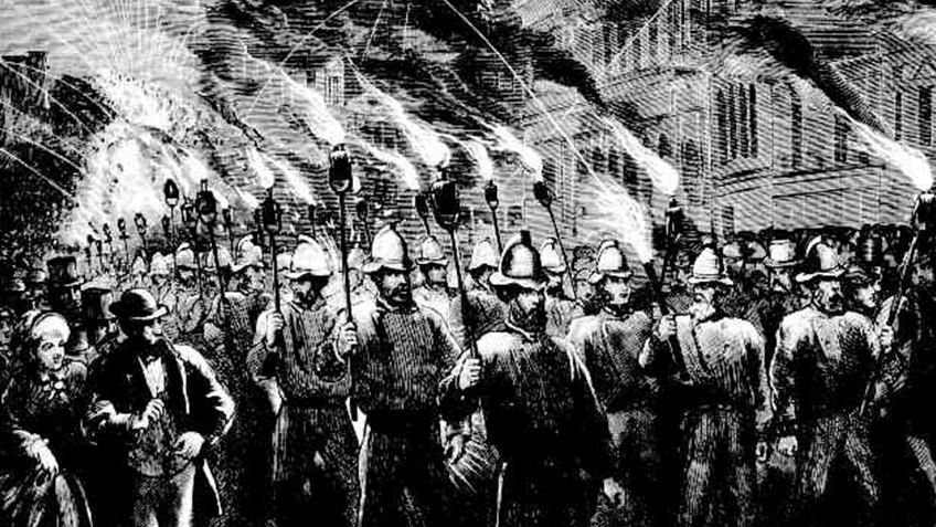 Newspaper engraving of uniformed firemen carrying torches through Melbourne