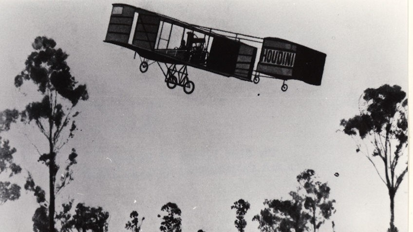 Black and white photo of the Voisin biplane flown by US escapologist Harry Houdini over Diggers Rest in 1910