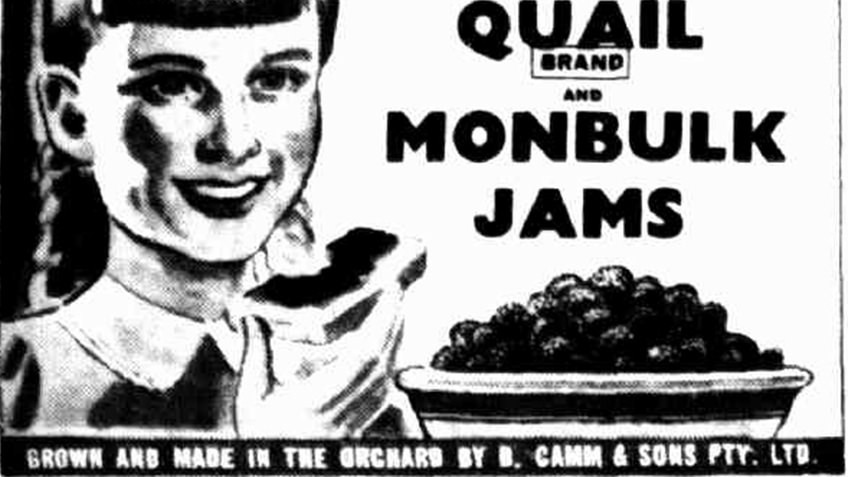 black and white newspaper advertisement for Quail and Monbulk Jams with smiling girl and bowl of berries
