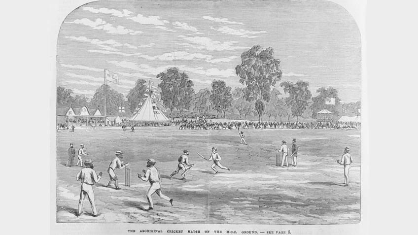 A Koori cricket match on the MCC ground, engraving by Samuel Calvert, 1867
