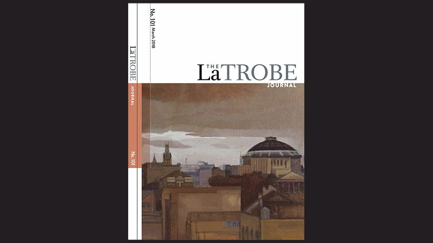 magazine cover on black background, white panel with La Trobe Journal title, sepia painting of domed library building