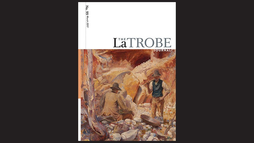 Front cover of La Trobe journal shows oil painting of two men mining for gold