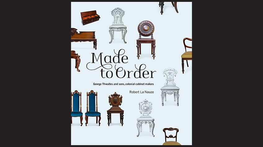 book cover with Victorian chairs and tables on a blue background with black text