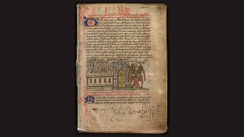 page from medieval manuscript against black background with text and image of angel outside city