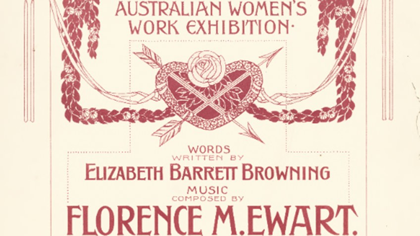 Cover of sheet music of song I love thee, lyrics Elizabeth Barrett Browning, music Florence M Ewart