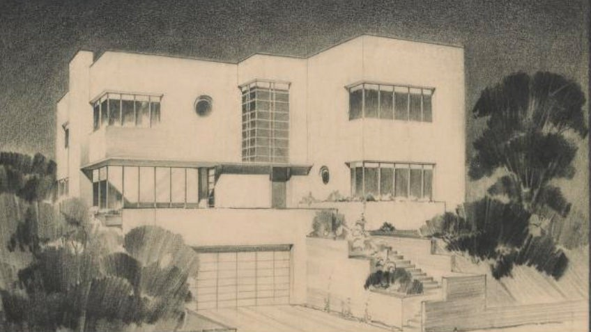 charcoal architectural drawing of white two-storeyed modernist cube house