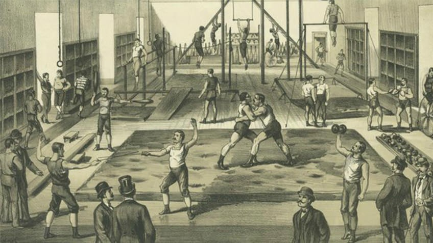 1891 etching of men boxing, fencing and exercising in an athletic club