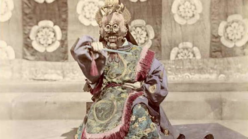Japanese noh dancer, 1876, albumen silver photograph with hand-colouring