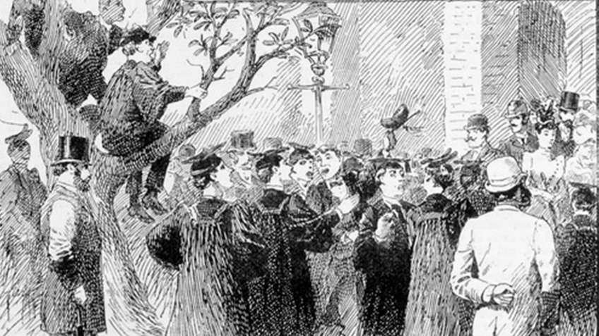 newspaper engraving of rowdy students celebrating at university
