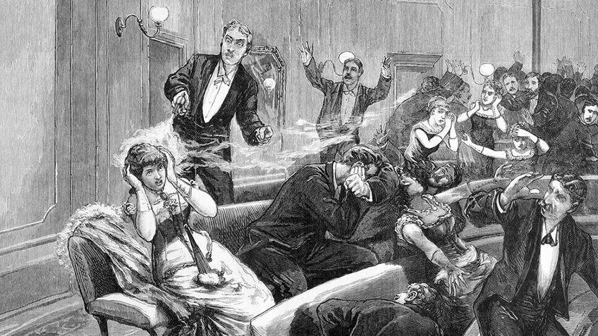 etching of a man firing a gun at a woman in a Victorian-era theatre