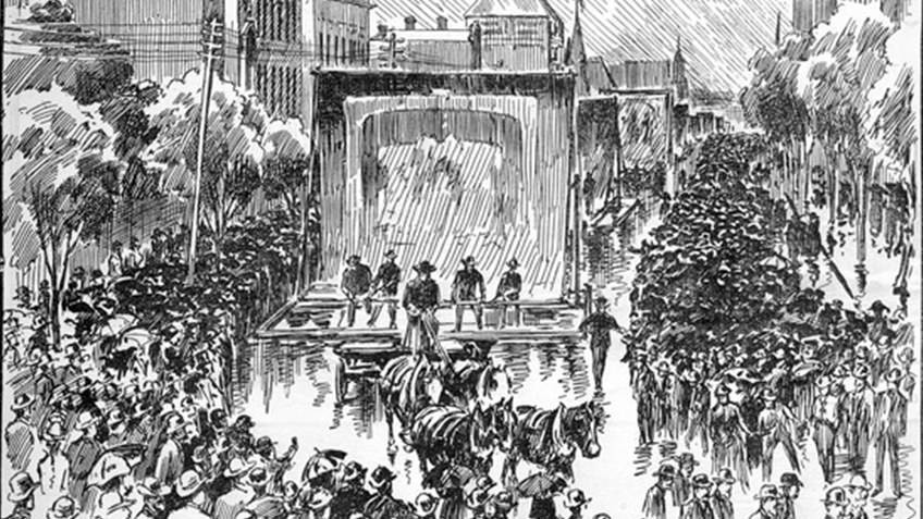 19th-century newspaper print of horsedrawn parade and crowds