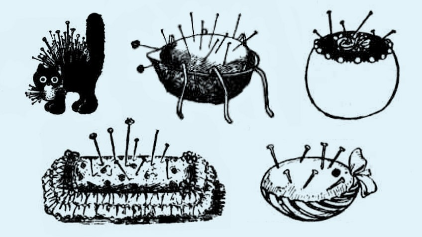 Illustrations of different types of pincushions