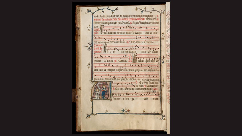 page from medieval manuscript against black background with music score, lyrics and detail of medieval musicians