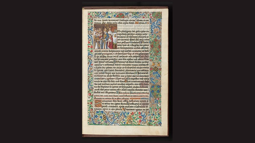 page from medieval manuscript against black background with illuminated border and images of clergymen