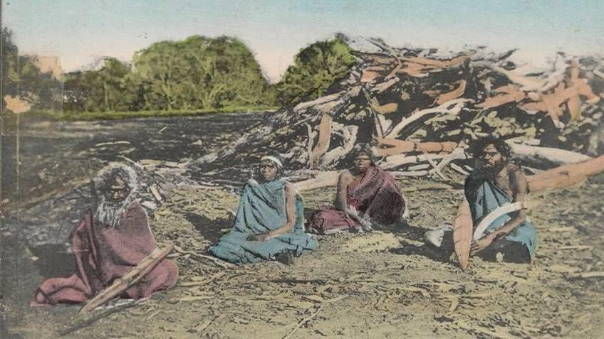 Postcard depicting Aboriginal people at their camp, c 1909