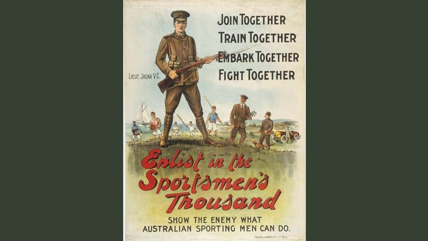 Poster encouraging sportsmen to join up, 1915
