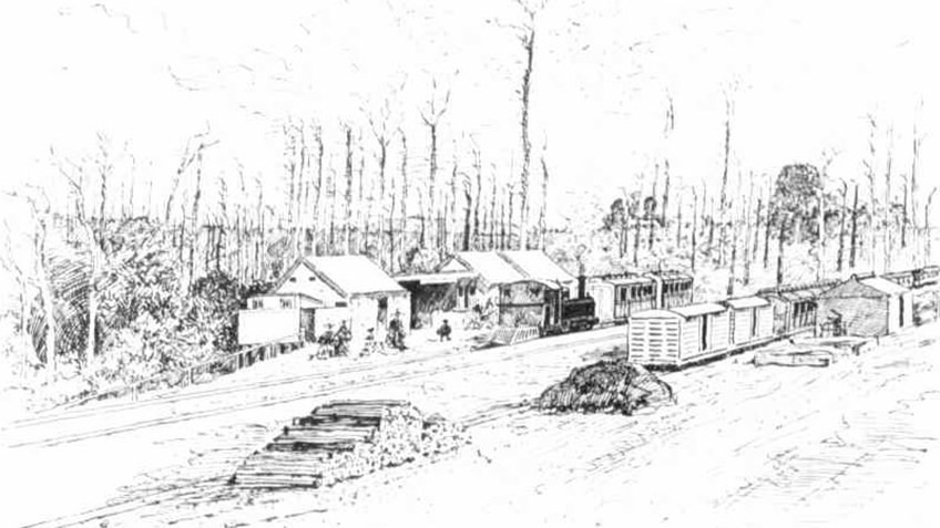 etching of a rural train station with a steam train and wagons