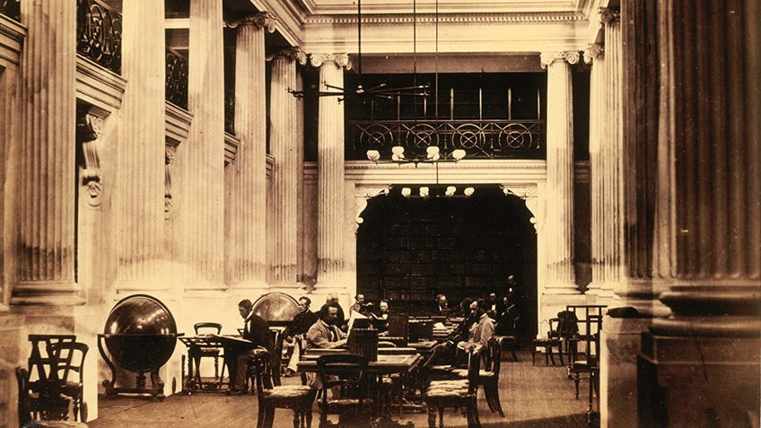 Sepia photo of Queens Hall in 1859