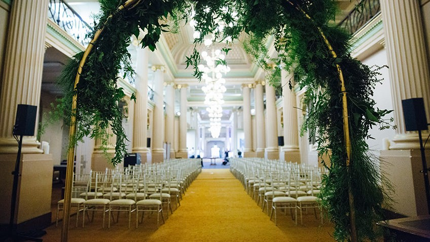 Photo of a wedding setup in Queens Hall