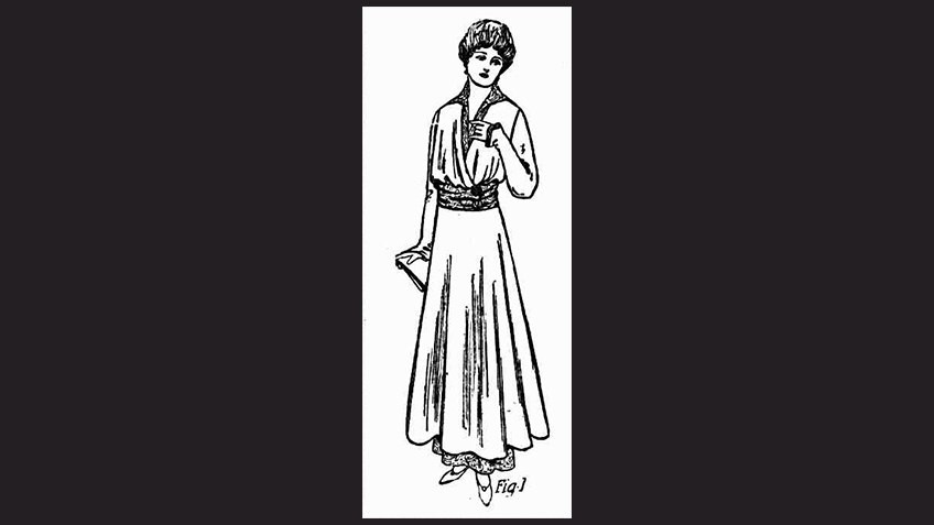 black background with drawing of woman in Edwardian loose-fitting long dress