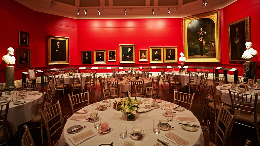 Photo of the Red Rotunda set up with tables