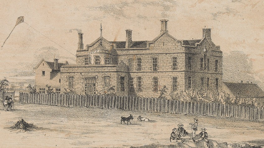 Sepia lithograph double-storey stone building with wooden fence. Children play in street and a kite is being flown from side of building