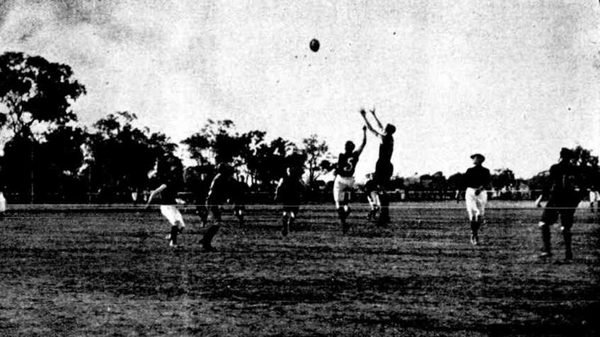 Black and white photo from a newspaper article about the Rochester Football Club