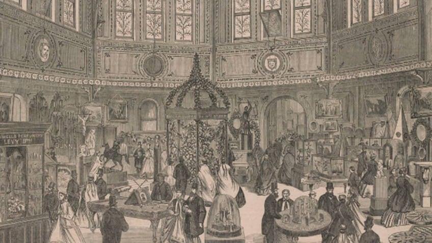 engraving of Victorian-era exhibition