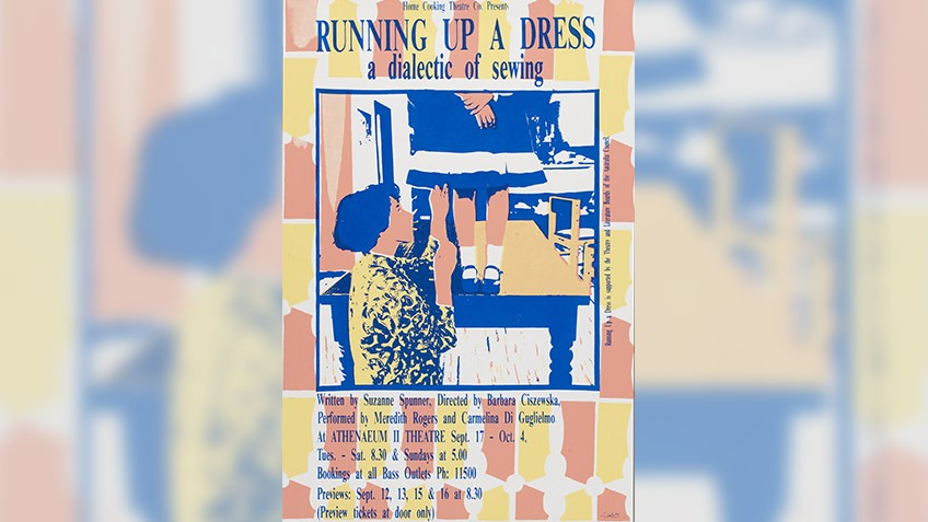 Poster promoting 'Running up a dress', a play performed in 1987
