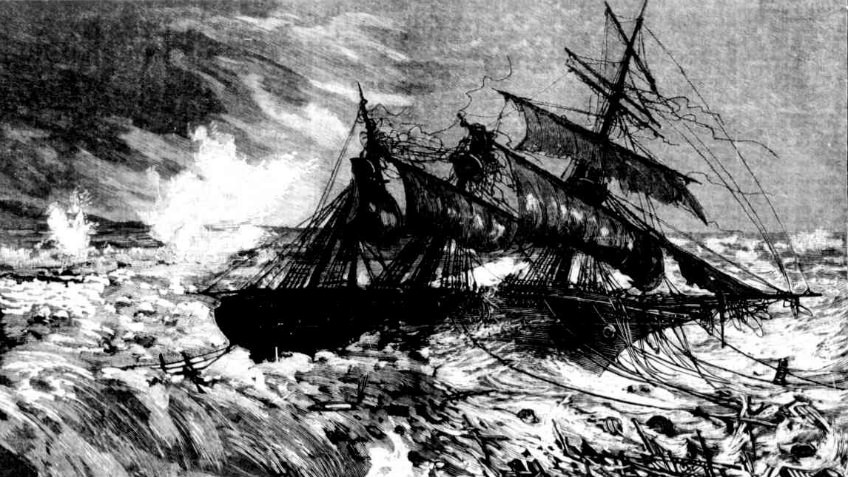 newspaper etching of a shipwreck in rough seas